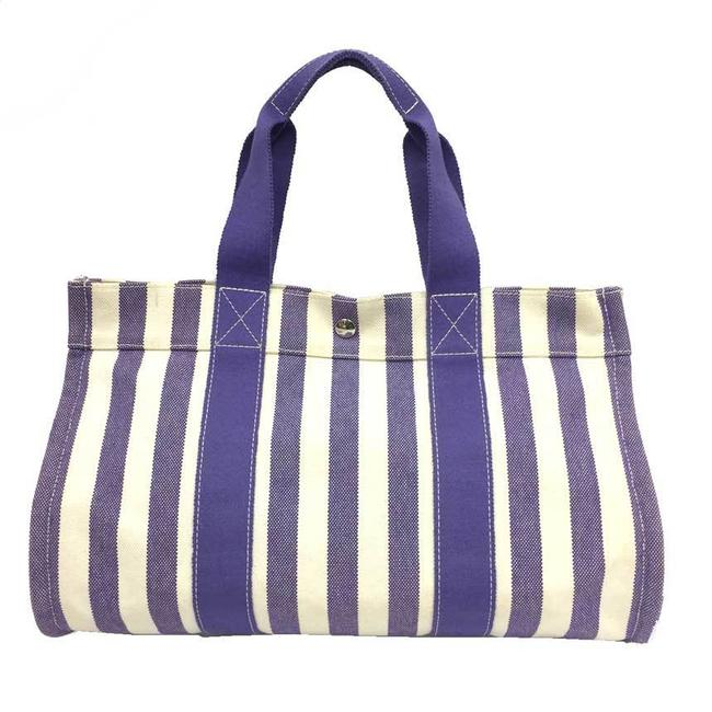Item - Bag Mm Striped White Back Off-white / Purple Canvas Tote