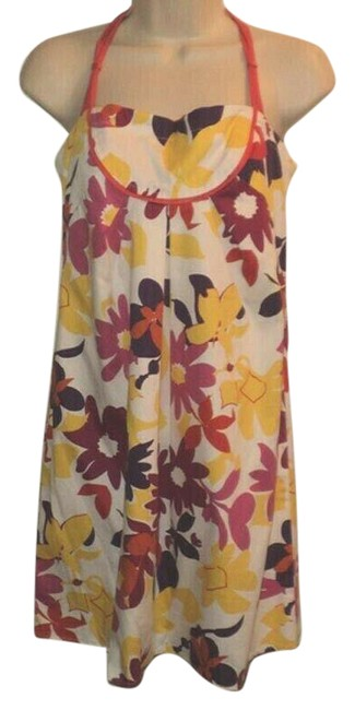 Item - White Purple Yellow Sundress Floral Spaghetti Straps Cotton Blend Above Knee Length Short Casual Dress Size 12 (L)