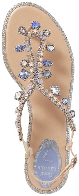 Item - Beige Crystal-embellished Leather Slingback Sandals Size EU 38 (Approx. US 8) Regular (M, B)