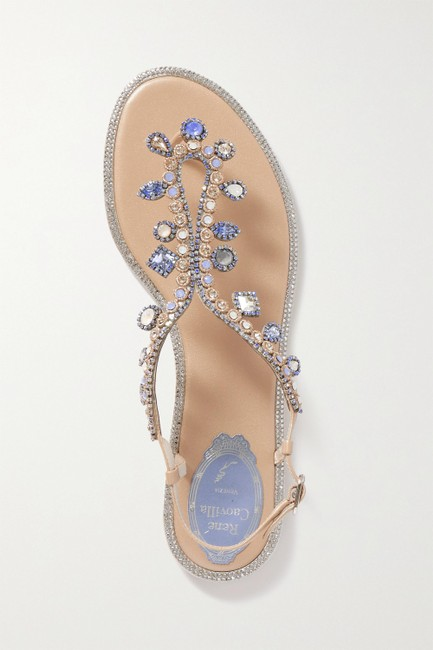 Item - Beige Crystal-embellished Leather Slingback Sandals Size EU 39 (Approx. US 9) Regular (M, B)