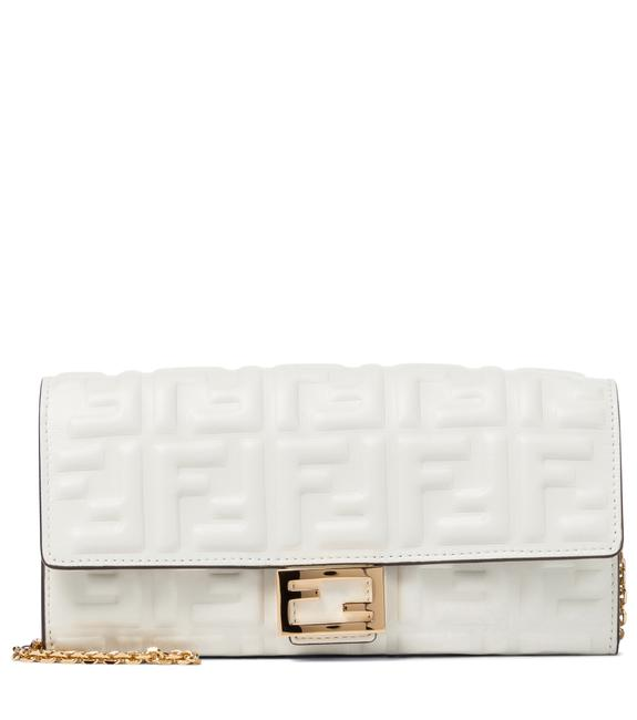 Item - Baguette Continental Chain Wallet White Nappa Leather Cross Body Bag