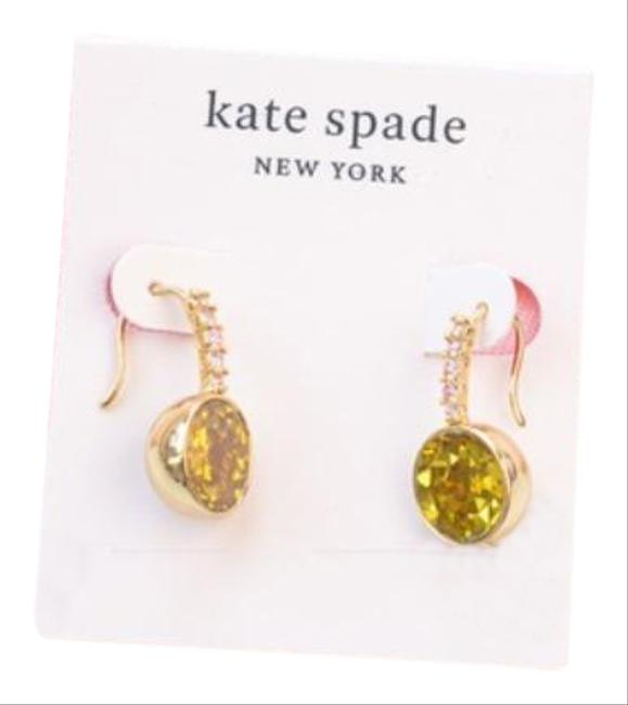 Item - Gold Yellow Reflecting Pool Pavé Round Drop Earrings