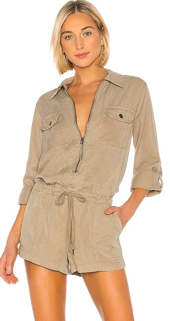 Item - Cream And Lyocell Zip Front Utility Romper/Jumpsuit