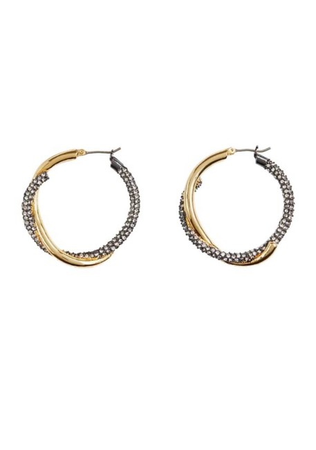 Item - Gold and Silver Pave Twisted Earrings