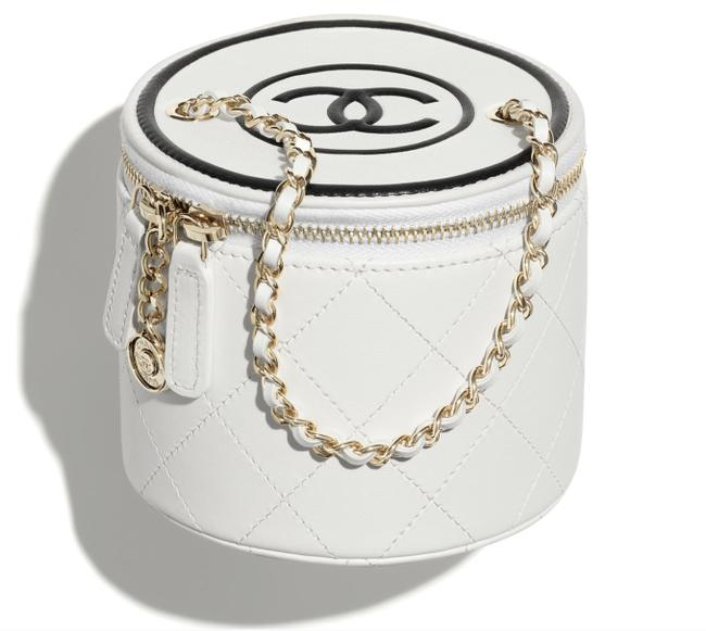 Item - Crossbody 21s Small Black Vanity Cc Classic Gold Chain White Lambskin Leather Shoulder Bag