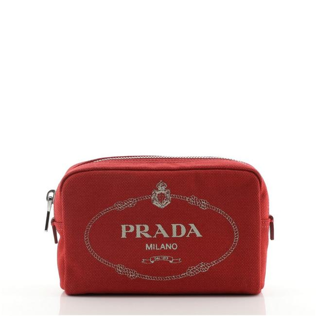 Item - Print Red Pouch Logo Canvas Mini Cosmetic Bag