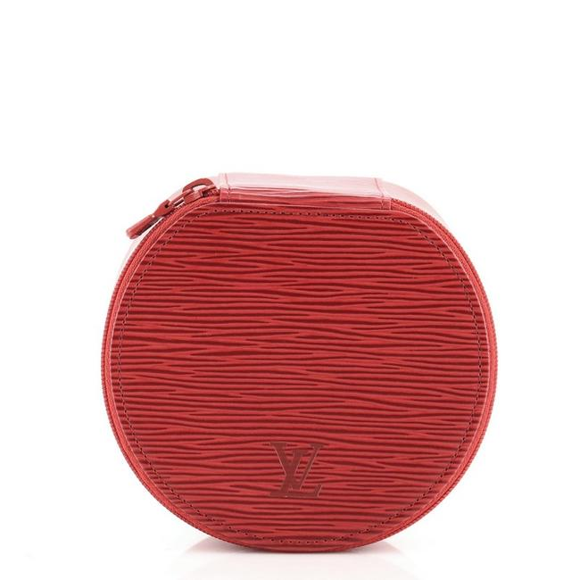 Item - Red Ecrin Bijoux Jewelry Case Epi Leather Gm Cosmetic Bag