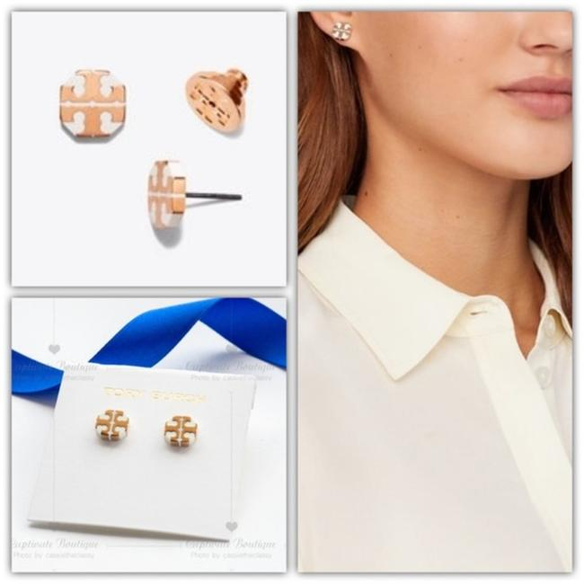 Item - Gold White Stud T Stretched-t Rose Earrings