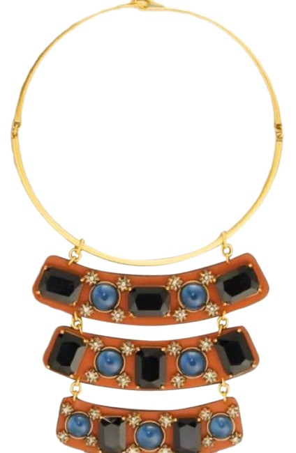 Item - Tan Blue Stone Leather Statement Necklace