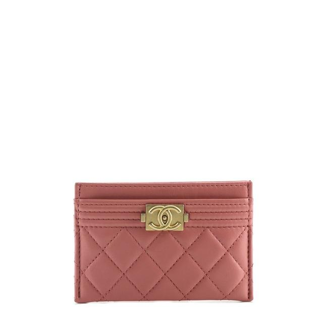 Item - Pink Boy Card Holder Quilted Lambskin Wallet