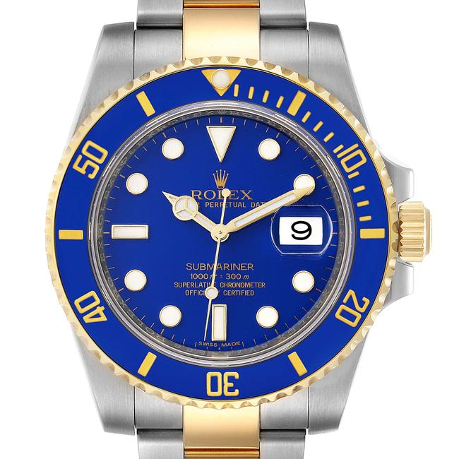 Item - Blue Submariner Steel 18k Yellow Dial Mens 116613 Watch