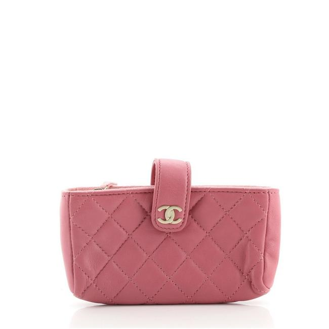Item - Holder Quilted Lambskin Pink Leather Clutch