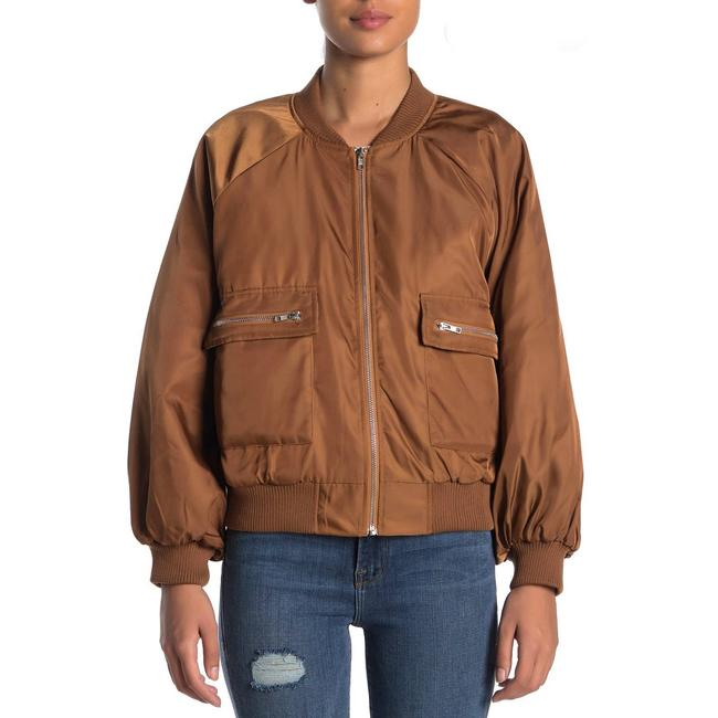 Item - Brown Know One Cares Full Zip Bomber Jacket Size 8 (M)