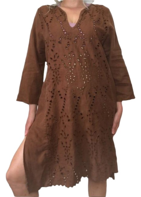 Item - Brown Linen Cut Out Cover-up/Sarong Size 16 (XL, Plus 0x)