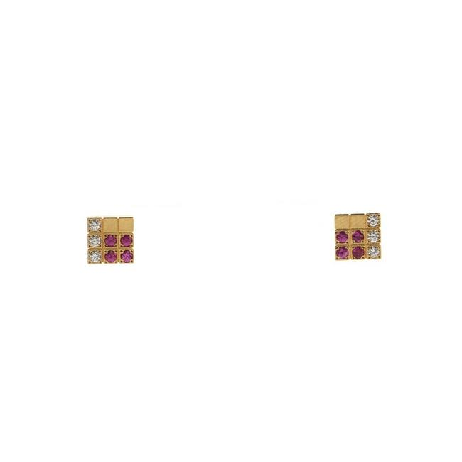 Item - Yellow Gold Lanieres Piet Stud 18k with Diamond and Pink Sapp Earrings