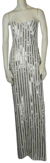 Item - Silver Strapless Sequin Back Slit Maxi Long Evening Gown Formal Dress Size 2 (XS)