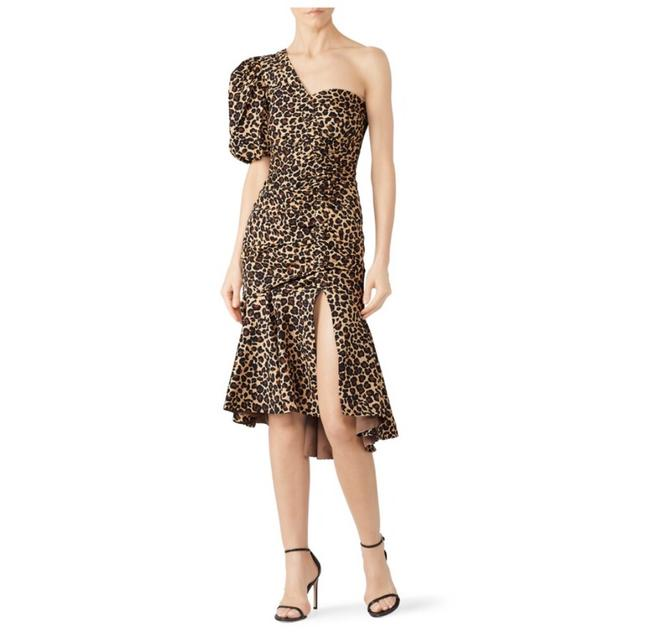 Item - One Sleeve Leopard New Mid-length Cocktail Dress Size 10 (M)