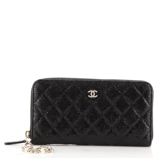 Item - Black Zip Around with Pearl Chain Quilted Glazed Crackled Leather Lon Wallet