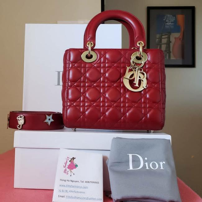 Item - Lady Hw Red Lambskin Leather Tote