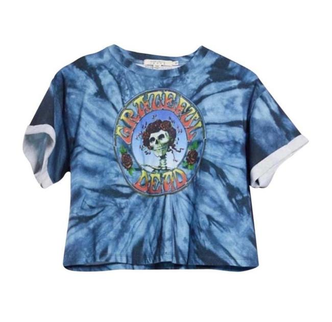 """Item - Blue Alice+olivia Soft Tie-dyed Cotton with Skull and """"Grateful Dead"""" Prints On The Front. Tee Shirt Size 4 (S)"""