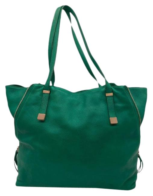 Item - Bag Edie Zip Leather Expandable Green Tote