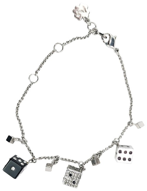 Item - Silver Tone Box Christian Double Dice With Bracelet