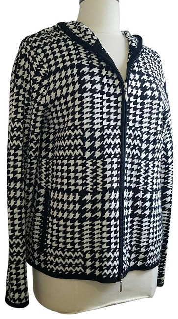 Item - Black White Houndstooth Hooded Sweater Cardigan Size 8 (M)
