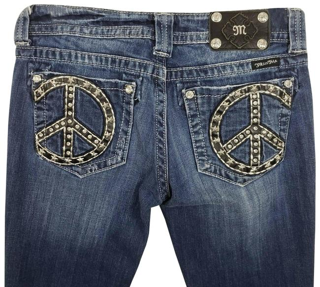 Item - Blue Mid-rise Peace Sign Studded Boot Cut Jeans Size 28 (4, S)