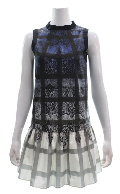 Item - Blue/Black Sleeveless Print Sheath New with Tags Mid-length Night Out Dress Size 6 (S)