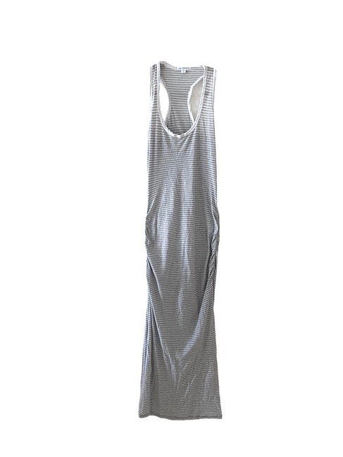 Item - Gray White Striped Ruched Racer Back Midi Mid-length Casual Maxi Dress Size 0 (XS)