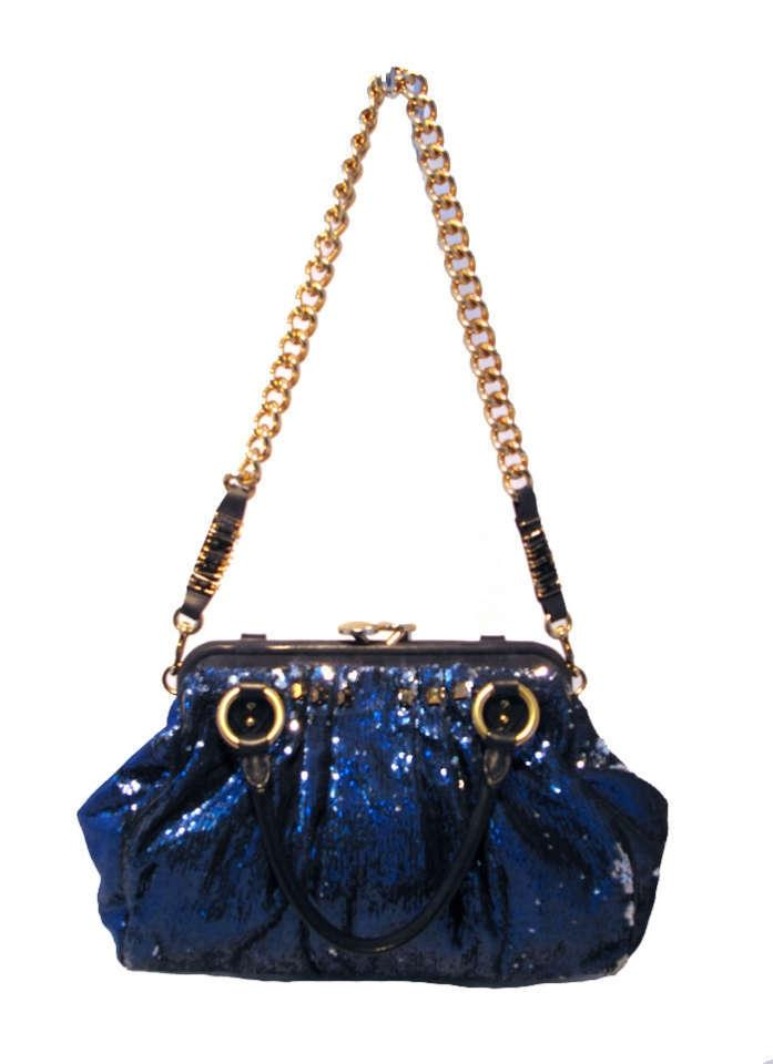 Marc Jacobs New York Rocker Stam Blue Leather With Sequins Shoulder Bag Tradesy