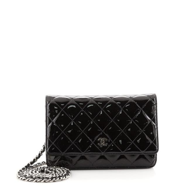 Item - Black on Chain Quilted Patent Wallet