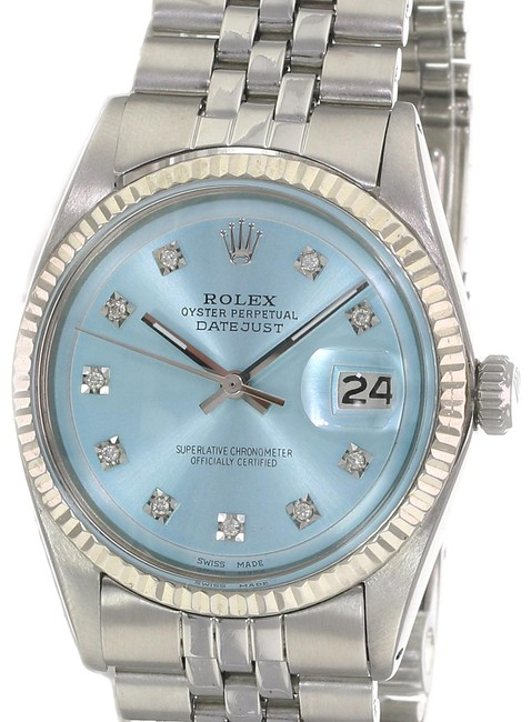 Item - Ice Blue Datejust Ss Diamond Dial Fluted Bezel 36mm Watch