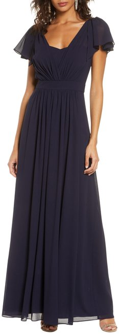 Item - Navy Pleated Chiffon Gown Long Formal Dress Size 12 (L)