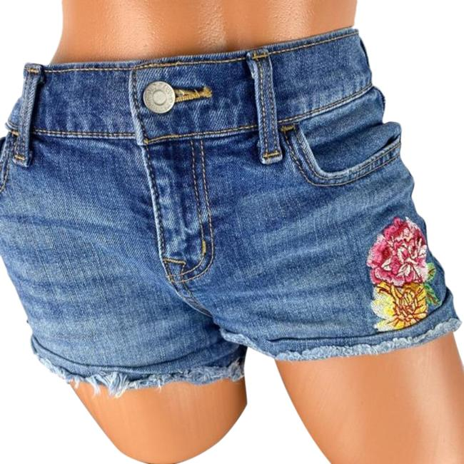 Item - Blue Embroidered Floral Detailed Jean Shorts Size 2 (XS, 26)