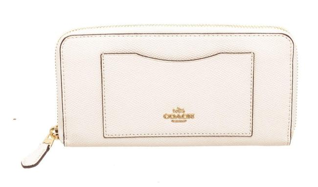 Item - White Zippy Crossgrain Leather Wallet