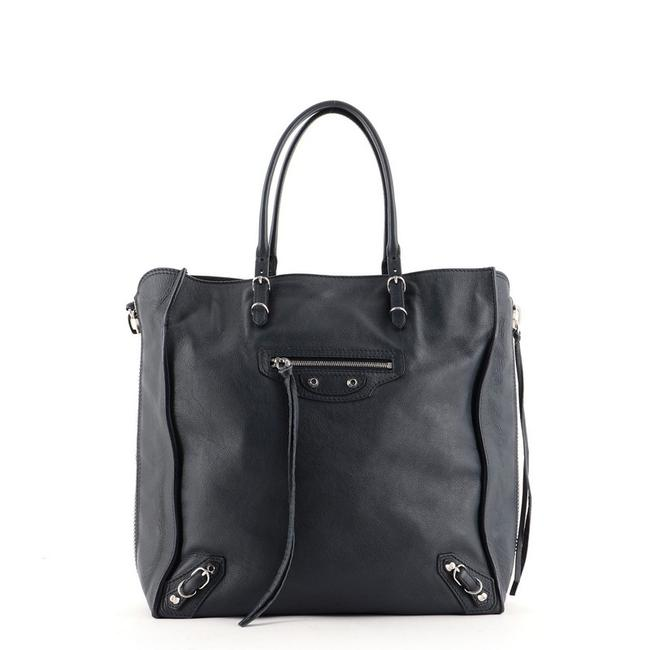 Item - Papier A5 Zip Around Classic Studs Blue Leather Tote