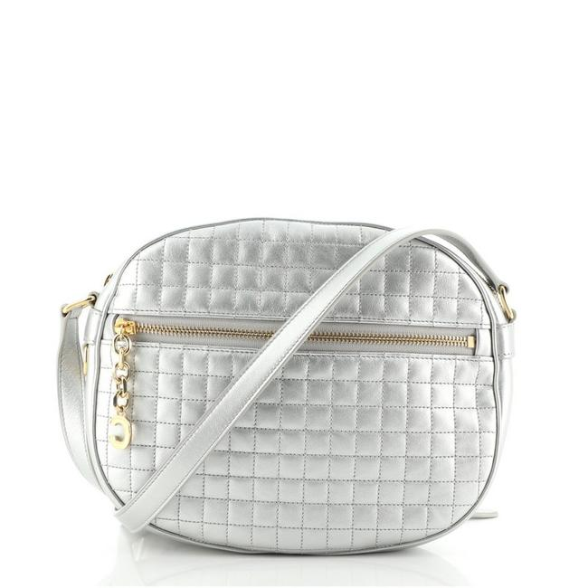 Item - Camera C Charm Quilted Medium Silver Leather Cross Body Bag