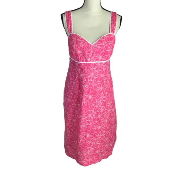 Item - Pink and White Parade Sundial Embroidery Empire Waist Wide Strap Sundress Mid-length Night Out Dress Size 14 (L)
