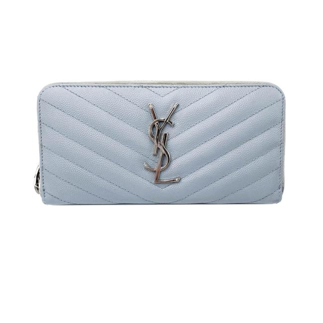 Item - Grey Grain De Poudre Matelasse Chevron Zip Around Wallet