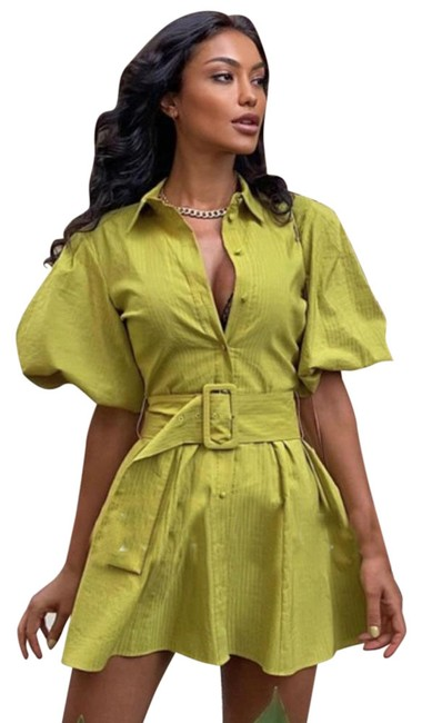 Item - Green Puff Sleeve Belted Mini Short Casual Dress Size 8 (M)