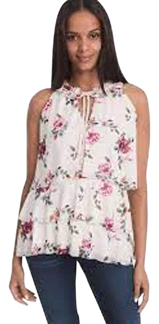 Item - Cream Floral Teared Blouse Size 2 (XS)