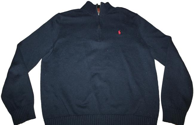Item - L Mens with Partial Zipper Navy Blue Sweater