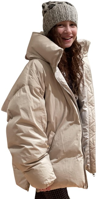 Item - Beige Donna Belted Quilted Cotton-blend Shell Down Coat Size 10 (M)