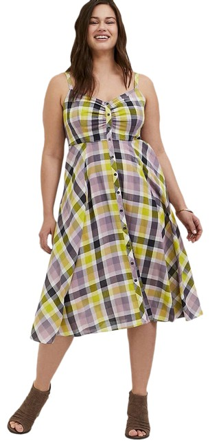 Item - Yellow Multi Plaid Challis Button Front Midi Women's 0x Mid-length Casual Maxi Dress Size 18 (XL, Plus 0x)