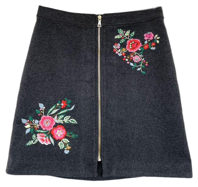Item - Gray Zip Front Embroidered Wool Blend Skirt Size 2 (XS, 26)