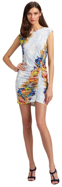Item - Blue Multi Dell Floral Asymmetrical Night Out Dress Size 12 (L)