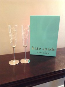 Kate Spade Glass Toasting Flutes Reception Decoration