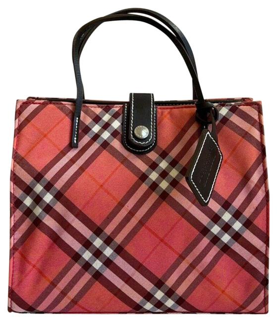 Item - Nova Check Mini Handbag Red (Multicolor) Canvas & Leather Tote
