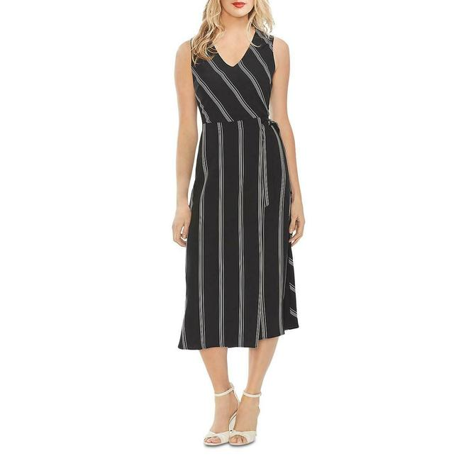 Item - Black Women's Striped Faux-wrap Midi Mid-length Work/Office Dress Size 14 (L)